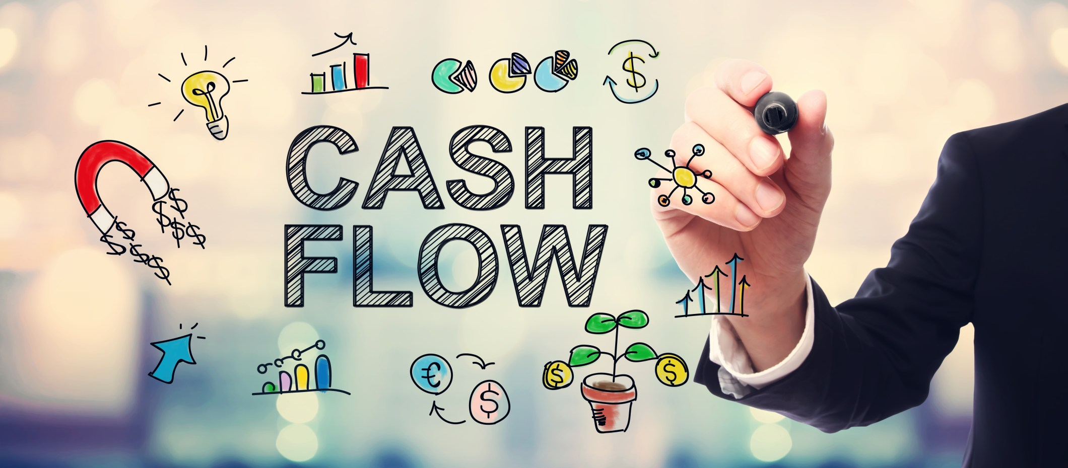 Businessman drawing Cash Flow concept on blurred abstract background